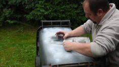 Hombre empieza a pintar con aerosol un cubo de basura. El resultado es muy impresionante