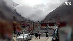 Parece una pacífica escena montañosa, luego aparece a lo lejos una nube blanca amenazadora