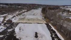 Drone captura espectáculo de ruptura del hielo a lo largo del río Aroostook en EE. UU.