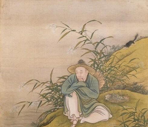 """El emperador retratado como un pescador. Del """"Álbum del Emperador Yongzheng en atuendos"""", de artistas anónimos de la corte, período Yongzheng (1723-1735). Una de las 14 hojas del álbum, color sobre seda. El Museo del Palacio, Beijing. (Dominio Público)"""