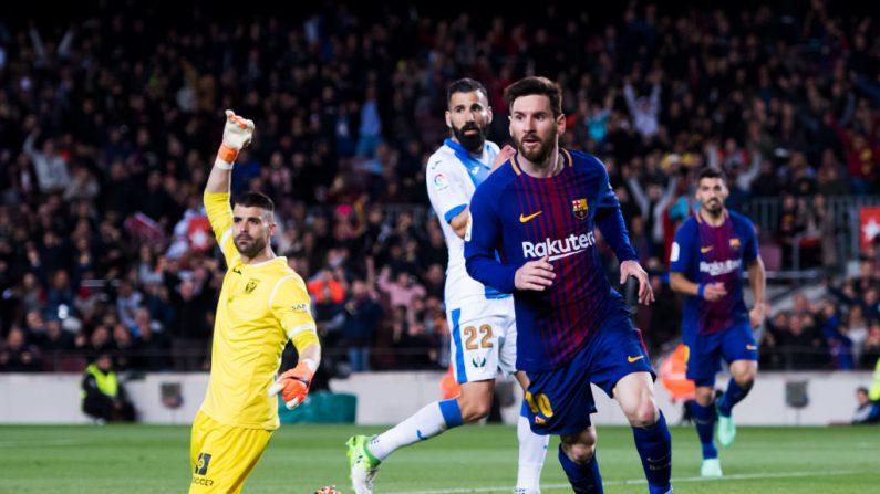 BARCELONA, SPAIN - APRIL 07: Lionel Messi of FC Barcelona celebrates after scoring his team's third goal during the La Liga match between Barcelona and Leganes at Camp Nou on April 7, 2018 in Barcelona, Spain. (Photo by Alex Caparros/Getty Images)