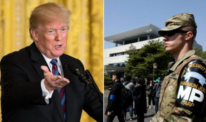 Izquierda: El presidente Donald Trump en el Salón Este de la Casa Blanca en Washington, DC, el 3 de abril de 2018. (Samira Bouaou / La Gran Época); Derecha: Un soldado estadounidense frente a la Casa de la Paz en el lado surcoreano de la aldea fronteriza de Panmunjom entre Corea del Sur y Corea del Norte en la zona desmilitarizada el 18 de abril de 2018. (Chung Sung-Jun / Getty Images)