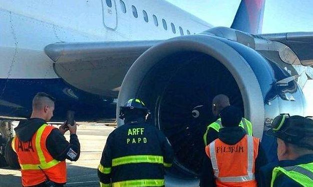 Los oficiales inspeccionan una turbina de jet del vuelo 2836 de Delta, que se basó después de que golpeó a un pájaro el 7 de marzo de 2018. (Policía de la Autoridad Portuaria)