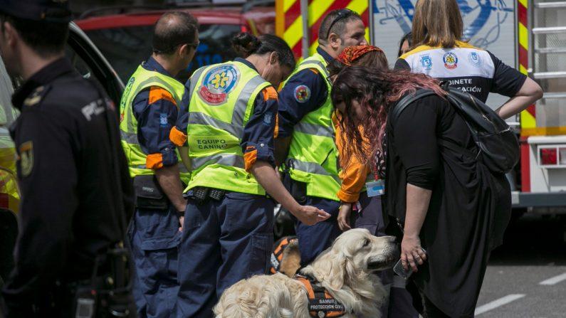 Los Bomberos del Ayuntamiento de Madrid trabajan en dos zonas marcadas por perros de rescate en el intento de hallar con vida a dos obreros desaparecidos en el derrumbe de un edificio en rehabilitación en el distrito de Chamberí. EFE