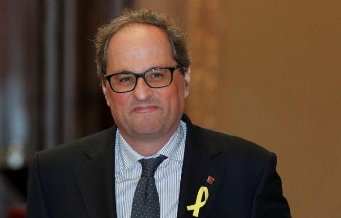 Imagen de Quim Torra, candidato a presidir el gobierno regional catalán, a su llegada al Parlamento de Cataluña en Barcelona, España. 11 mayo 2018. REUTERS/Luis Felipe Castilleja