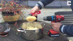 Hombre pega una patata en un taladro. Lo que hace a continuación, en realidad es muy inteligente.
