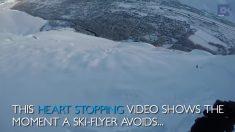 Un esquiador acababa de despegar de la montaña, pero al mirar hacia atrás ve que escapó por muy poco