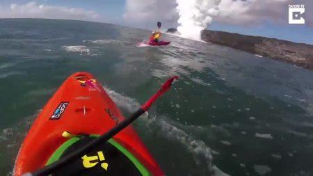 Kayakistas encuentran una enorme cascada de lava en Hawái. Las imágenes grabadas son impresionantes