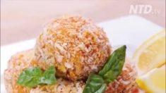 Bolas de arroz con queso estilo italiano