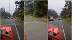 Se agrieta carretera luego de terremoto ocurrido bajo el volcán Kilauea