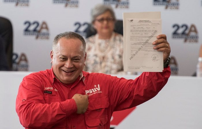 El Secretario General del gobernante Partido Socialista Unido de Venezuela (PSUV), Diosdado Cabello, FOTOGRAFÍA AFP / Carlos Becerra (El crédito de la foto debe leer CARLOS BECERRA/AFP/Getty Images)