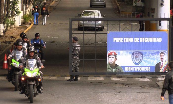 Entrada al Helicoide, sede del Servicio Bolivariano de Inteligencia Nacional, donde estuvo retenido el rehén estadounidense. (Jesus Olarte/AFP/Getty Images)