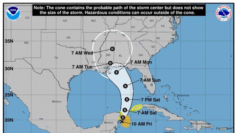 """Gráfico cedido por la Administración Nacional de Océanos y Atmósfera de EE.UU. (NOAA) hoy, viernes 25 de mayo de 2018, donde se muestra el posible recorrido de la tormenta Alberto sobre el Mar Caribe. La tormenta subtropical Alberto, la primera de la temporada de huracanes en el Atlántico, se formó hoy al noroeste del Caribe y se espera que deje """"fuertes lluvias"""" en la Península de Yucatán (México), Florida y Cuba este fin de semana, informó el Centro Nacional de Huracanes (NHC) de EE.UU. EFE/NOAA/SOLO USO EDITORIAL/NO VENTAS"""