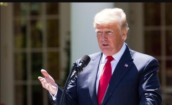 El presidente Donald Trump organiza una conferencia de prensa conjunta con el presidente Muhammadu Buhari (no en la foto) de la República Federal de Nigeria en el Rose Garden de la Casa Blanca en Washington el 30 de abril de 2018. (Charlotte Cuthbertson / La Gran Época)