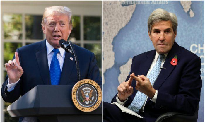 Izquierda: presidente Donald Trump en el Rose Garden de la Casa Blanca en Washington, D.C., el 2 de noviembre de 2017. (Samira Bouaou / La Gran Época); Derecha: El exsecretario de Estado de EE. UU. John Kerry en Chatham House en Londres, Inglaterra, el 6 de noviembre de 2017. (Dan Kitwood / Getty Images)