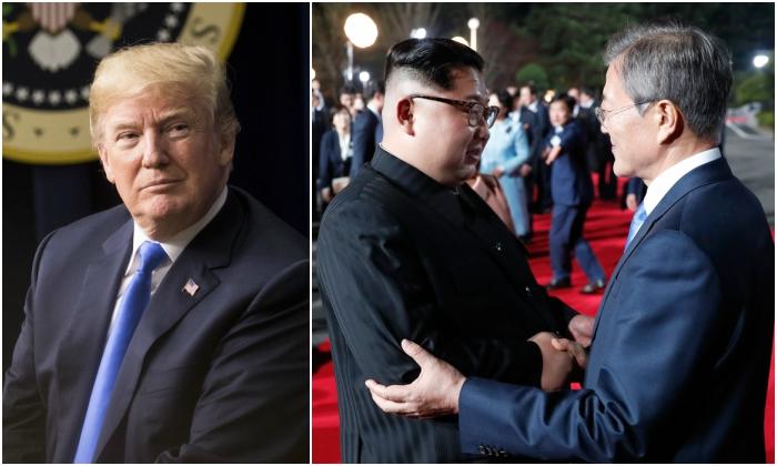 El presidente Donald Trump. (Samira Bouaou / La Gran Época), el líder norcoreano Kim Jong Un y el presidente surcoreano Moon Jae-in. (Fondo de prensa de la cumbre de Corea / AFP / Getty Images)
