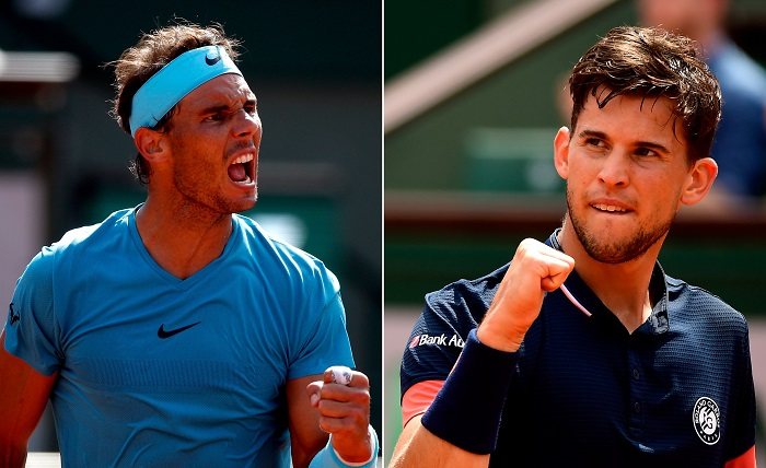 Nadal contra Thiem: el rey de la arcilla contra el príncipe heredero. A combo picture shows Rafael Nadal of Spain (L) and Dominic Thiem (R) of Austria during their semi final matches during the French Open tennis tournament at Roland Garros in Paris, France, 08 June 2018. Both will play the final match of the tournament on 10 June. Nadal has won the French Open already 10 times as for Thiem it will be the first appearance in a Grand Slam final. EFE