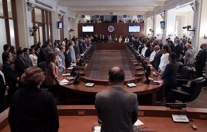 Vista general mientras se guarda un minuto de silencio durante la primera sesión del Consejo Permanente de la OEA que estudia la crisis en Nicaragua, hoy, viernes 22 de junio de 2018, en la sede del organismo en Washington (DC, EE.UU.). EFE