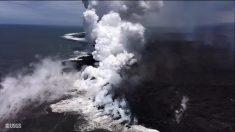 Gran cantidad de lava del volcán Kilauea de Hawái sigue fluyendo al Océano Pacífico