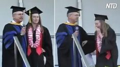 Sube al escenario para recibir su diploma, pero su novio a quien no veía hace 7 meses la sorprende
