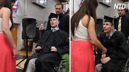 Este joven atleta está paralizado por debajo del cuello. Mira lo que sucede en su graduación