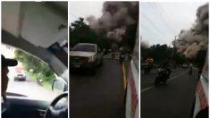 Ambulancia que huye es engullida por el torrente de cenizas del Volcán de Fuego