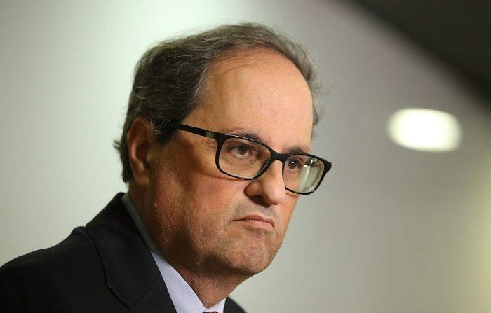 El recién elegido líder catalán Quim Torra asiste a una conferencia de prensa, ha prometido continuar la campaña de independencia de Cataluña de España. (Foto de Sean Gallup/Getty Images)
