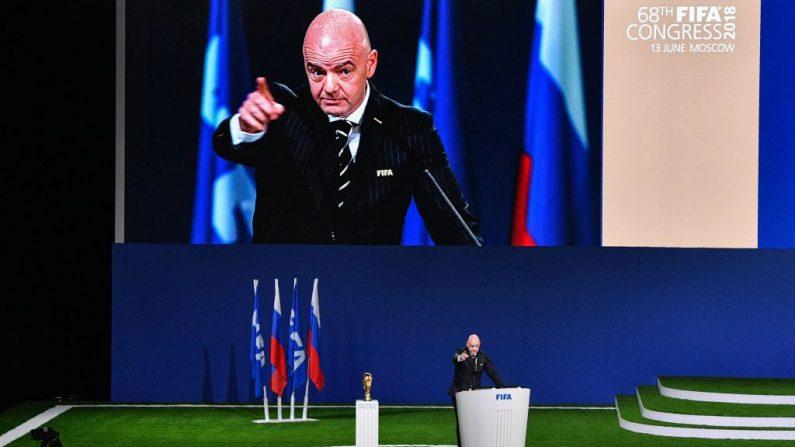 El Presidente de la FIFA, Gianni Infantino, pronuncia un discurso durante el 68º Congreso de la FIFA en el Expocentre de Moscú, el 13 de junio de 2018. (Foto de Mladen ANTONOV / AFP) (El crédito de la foto debe leer MLADEN ANTONOV/AFP/Getty Images)