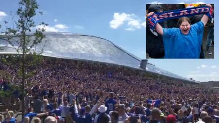 Masiva participación de islandeses en Moscú se unen en la primera aparición mundial del equipo