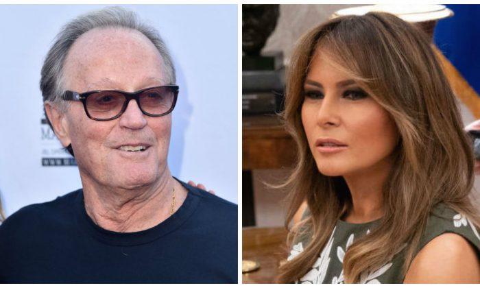 Una imagen compuesta del actor Peter Fonda y Melania Trump. (Alberto E. Rodríguez / Getty Images, Chris Kleponis - Piscina / Getty Images)