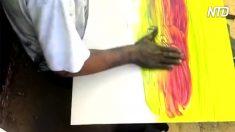 Parece que el hombre está creando una pintura confusa y desordenada, solo espera hasta el final