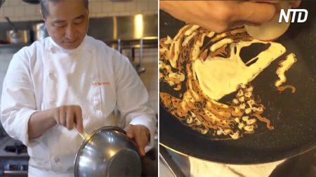 Parece que un chef está preparando un panqueque, pero cuando lo voltea, ¿todavía te lo comerías?