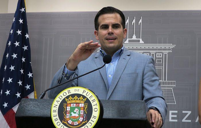 Gobierno de Puerto Rico mantiene vigente alerta emergencia por paso de baja presión. El gobernador de Puerto Rico, Ricardo Roselló, ofrece una conferencia de prensa. EFE/Archivo