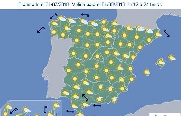 La Agencia Estatal de Meteorología (Aemet) prevé para mañana, miércoles, tiempo estable en la mayor parte de España, que coincidirá con el inicio de una ola de calor que dejará temperaturas significativamente altas en buena parte del interior peninsular y que subirán de manera más notable en el norte y oeste. EFE/Aemet