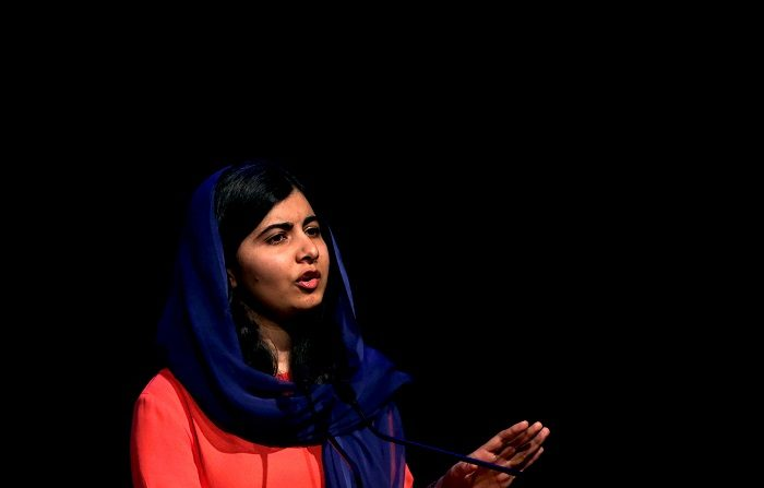 La pakistaní Malala Yousafzai, premio Nobel de Paz, participa en un evento sobre educación y desarrollo de niños y mujeres en Brasil hoy, lunes 9 de julio de 2018, en Sao Paulo (Brasil). EFE/Marcelo Chello