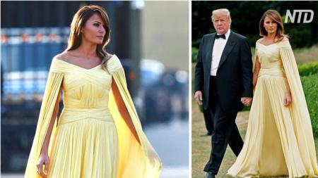 Melania Trump crea olas con su vestido amarillo durante la cena en el Blenheim Palace