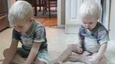 Descubre a sus hijos jugando en la cocina y sucios de pies a cabeza. Mira este gracioso vídeo