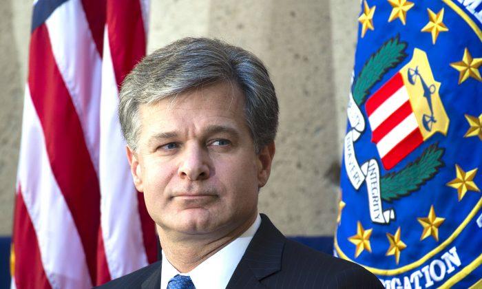 Christopher Wray, director del FBI, en la sede central del buró en Washington, 28 de septiembre de 2017. (SAUL LOEB/AFP/Getty Images)