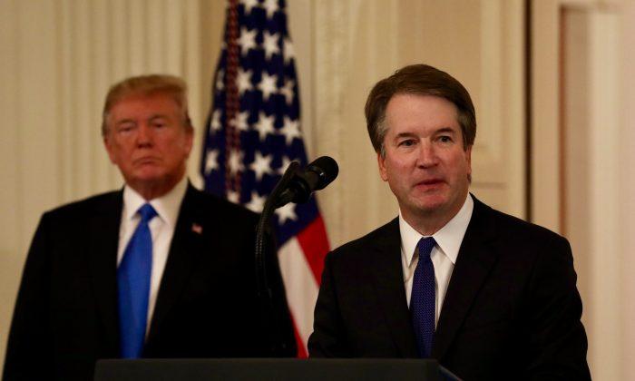 Donald Trump presenta a Brett Kavanaugh como su candidato a la Corte Suprema, el 9 de julio en la Casa Blanca.  (Samira Bouaou/La Gran Época)