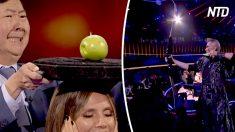 Aterroriza a los jueces al disparar a una manzana sobre la cabeza de Heidi en America's Got Talent