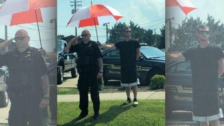 El acto de bondad de un extraño para el oficial que saluda en un cortejo fúnebre, conmueve corazones