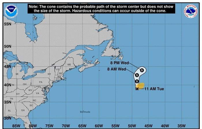 La tormenta Debby avanza veloz por las aguas frías del Atlántico Norte Gráfico cedido por el Centro Nacional de Huracanes de la Florida, donde se muestra la trayectoria de tres días de la tormenta subtropical Debby. EFE/Archivo