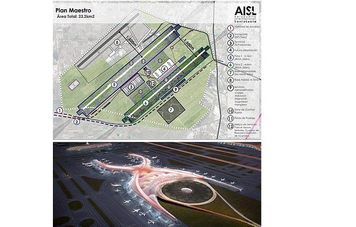Imagen cedida del proyecto de construcción del aeropuerto propuesto por el Gobierno del futuro presidente de México, Andrés Manuel López Obrador (Arriba) y de la maqueta de cómo va a ser el nuevo aeropuerto Internacional de Ciudad de México que se encuentra con un avance de 32 por ciento (abajo). EFE/PROYECTO AMLO/PRESIDENCIA/ SOLO USO EDITORIAL / NO VENTAS