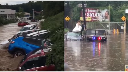 Diluvio en Nueva Jersey crea caos con autos flotando y hasta rescatan una novia del techo de un auto