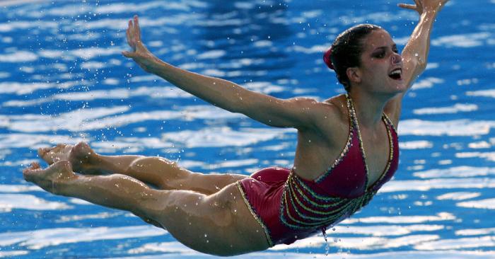Tina Fuentes de España se presenta en la final combinada del XI Campeonato Mundial de la FINA el 20 de julio de 2005 en el Parc Jean-Drapeau de Montreal, Quebec, Canadá. (Foto de Alexander Hassenstein/Bongarts/Getty Images)