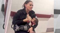 Foto de policía amamantando bebé que llora por hambre en Argentina emociona en las redes