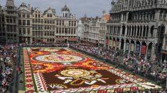 500.000 flores en honor a México tapizan el corazón de Europa en Bruselas