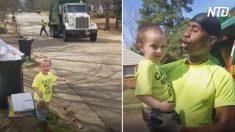 Este niño espera ansioso a sus mejores amigos, los recolectores de basura, su vínculo es conmovedor