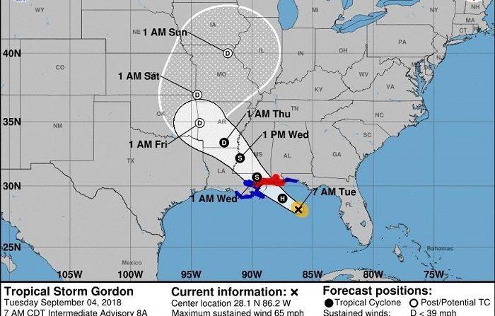La tormenta tropical Gordon arroja fuertes lluvias en el noroeste de Florida Imagen cedida este martes por el Centro Nacional de Huracanes (NHC) que muestra el pronóstico de cinco días del paso de la tormenta tropical Gordon por el Golfo de México. EFE