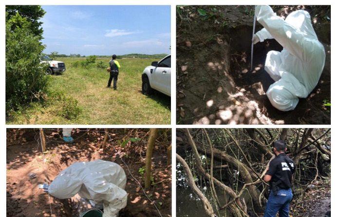 Combo de fotografías cedidas por la Fiscalía General del Estado de Veracruz (México) que muestra a expertos forenses mientras realizan labores en la zona donde se ha encontrado una fosa clandestina, en el estado de Veracruz (México). EFE/Cortesía FGEV/MÁXIMA CALIDAD DISPONIBLE/SOLO USO EDITORIAL